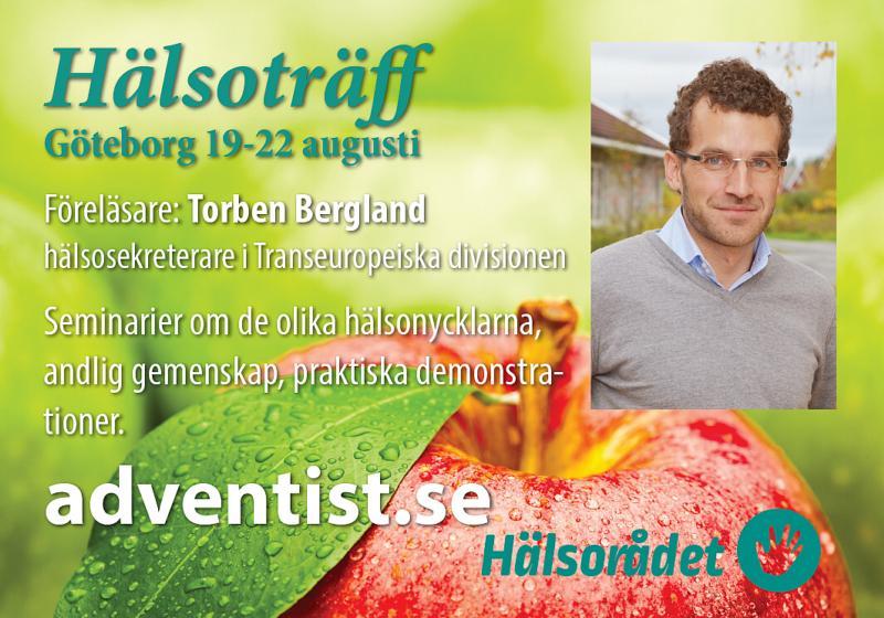 Hälsorådet inbjuder till hälsoträff i Göteborg den 19-22 augusti. Inbjuden talare är divisionens nya hälsosekreterare Torben Bergland.