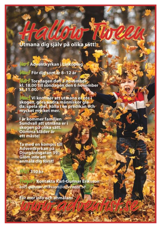 Utmana dig själv på olika sätt på Hallow-Tween. En helg för dig som är mellan 8-12 år. I år kommer familjen Sundvall att utmana er i skogen på olika sätt. Oömma kläder är ett måste!