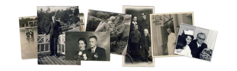 Jaakkos pappa Rainer döps av Toivo Seljavaara 1934. Nyss utexaminerad från teologiska seminariet vid Toivonlinna. Rainer gifter sig med Kerttu. Jaakko som 2-åring i pappas knä på stranden. Bilden av en nyss återförenad familj i Sverige. Urmakare Rainer utanför ur- och optikaffären i Nora. En stolt Rainer vid dottern Else-Majs sjuksköterskeexamen, ett år innan han dog.
